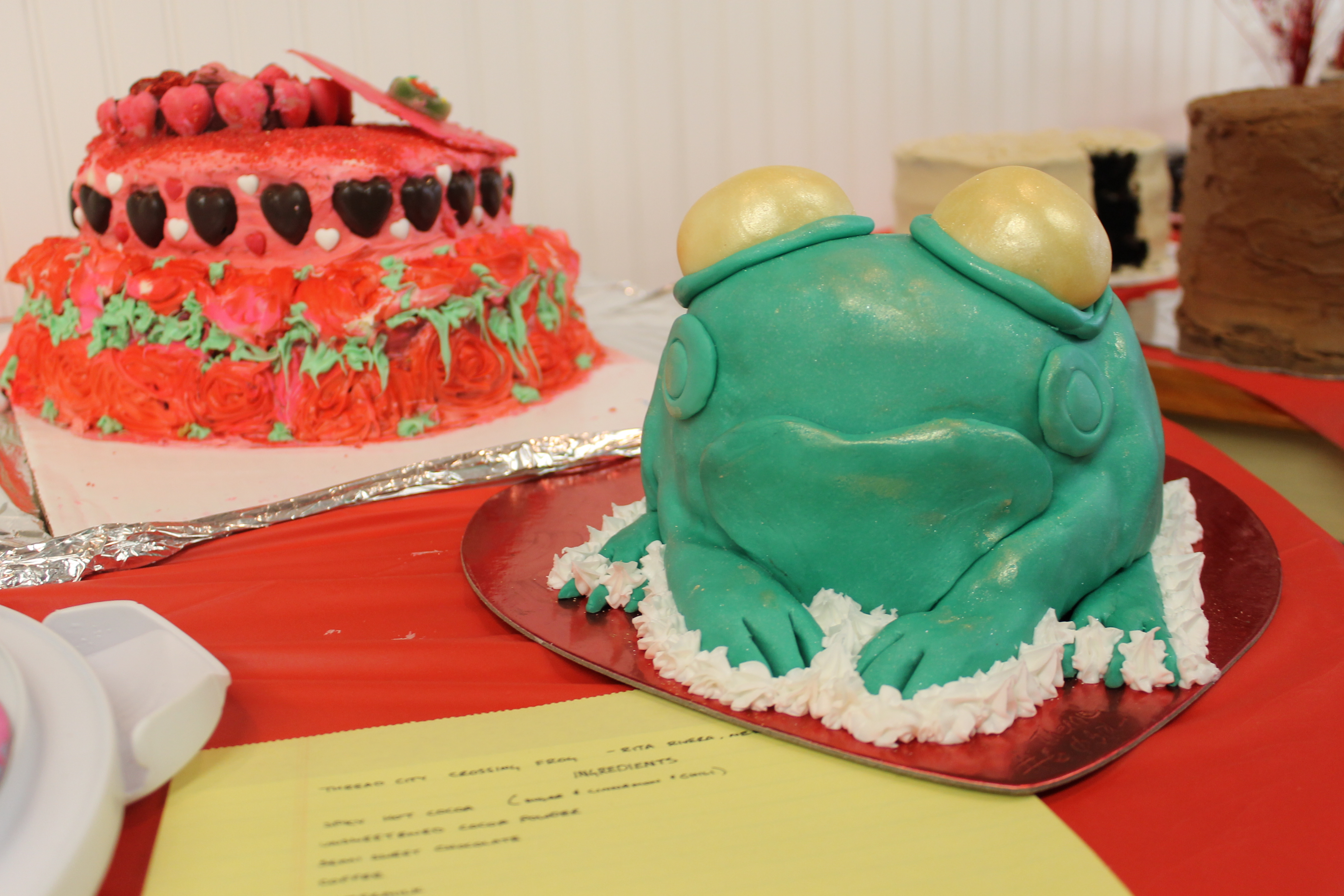 Frog shaped chocolate cake entry to cake baking contest